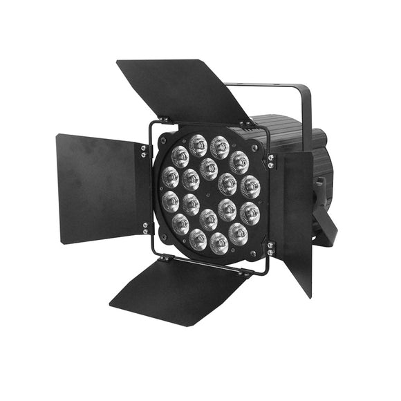 4-Pack, 18x18W RGBWAUV 6in1 LED Wash Par Light Theatre Stage Lighting with Barn Doors