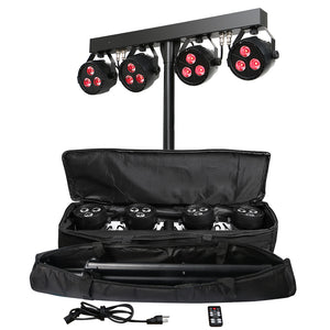 2-pack, OPPSK 12x4W RGB UV 4in1 DJ Lighting Bar LED Stage Par Light System with Stand and Carry Bag