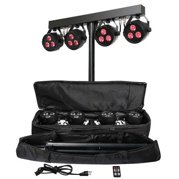 1Lot (2 sets) 12x4W RGB UV 4in1 DJ Lighting Bar LED Stage Par Light System with Stand and Carry Bag
