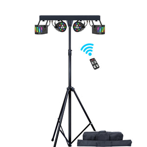 60W Portable DJ Lighting Kit Disco Party Light Effect Bar System with LED Derby and RGBW Wash Par