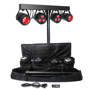 Multi-effect DJ Lighting Package 6x4W RGBW 4in1 Par Light and Moonflower Light Kit with Tripod Stand and Carry Bag
