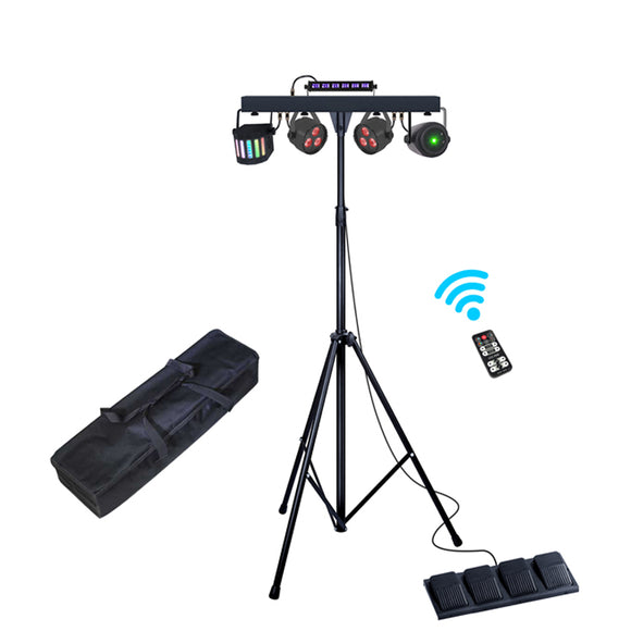 2-Pack, OPPSK 4-in-1 Par Can + UV Bar +Derby +Laser Complete Effect Light System Portable DJ Lighting Package