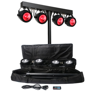 4x30W RGB 3in1 Tri Color COB LED Par Light Kit with Tripod Stand and Travel Bag