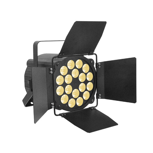OPPSK 18x15W RGBWA 5in1 LED Studio Light DJ Theatre Stage Lighting with Barn Doors