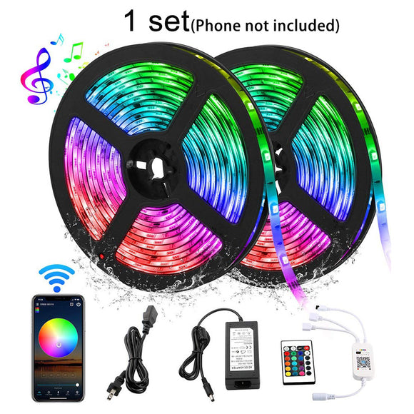 1 Pack (5 sets) 10M 33ft Waterproof 12V SMD 5050 Smart Wifi Phone APP Control RGB LED Strip Light with IR Remote