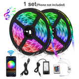 Pack of 5 sets, 10M 33ft Waterproof 12V SMD 5050 Smart Wifi Phone APP Control RGB LED Strip Light with IR Remote