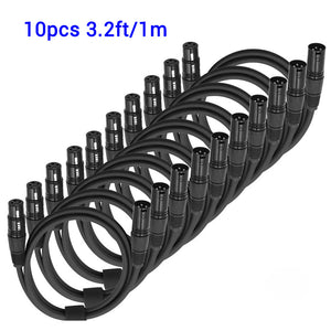 10-Pack, 3.20ft 1M Flexible DMX Cable 3 Pin Signal XLR Male to Female DMX Cable for DJ Stage Lights