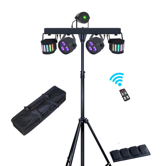 1 Lot (2 sets) 3-in-1 Par Light + Derby + Laser Multi-Effect Stage Light System Portable DJ Equipment with Carry Bag Wireless Footswitch