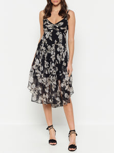 Butterflies Silk Mini Ruffle Dress