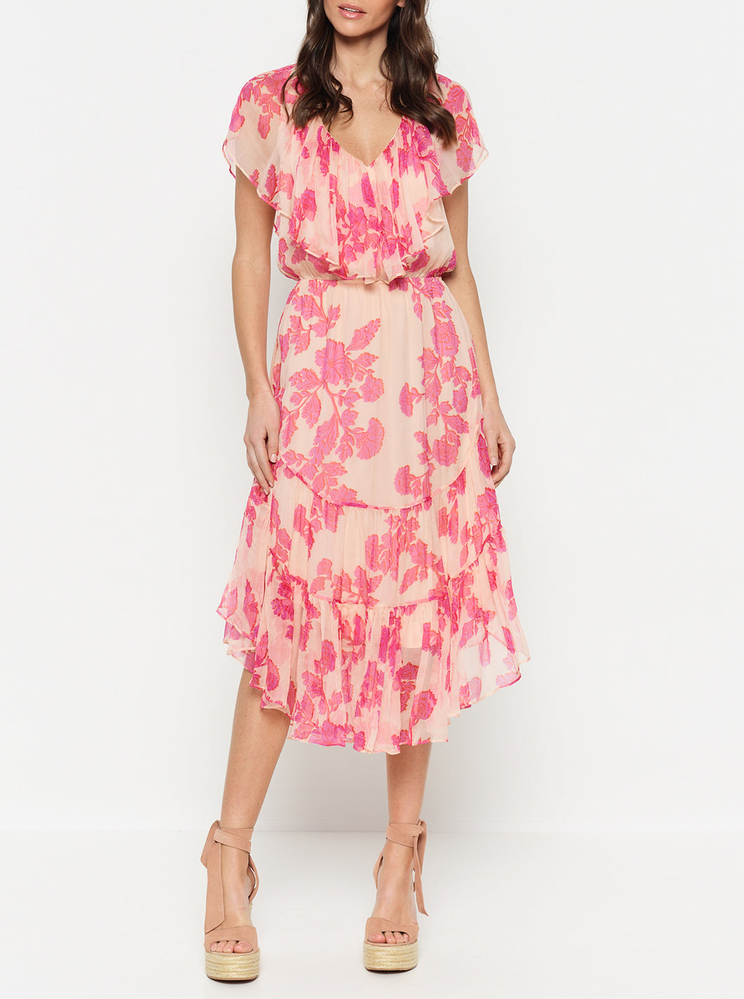 Butterflies Silk Short Sleeve Ruffle Midi Dress