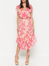 Load image into Gallery viewer, Butterflies Silk Short Sleeve Ruffle Midi Dress