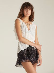 Higher Ground Silk Double Ruffle Shorts