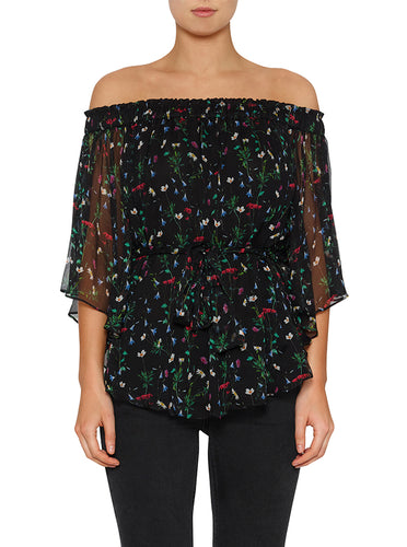 Flowerfield Silk Flutted Sleeve Top