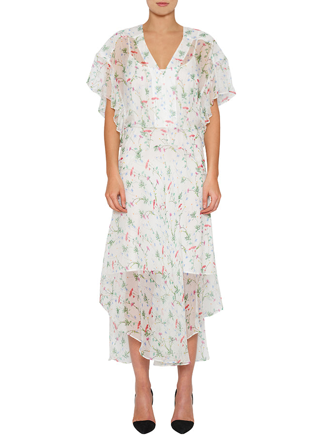 Flowerfield Silk Maxi Dress