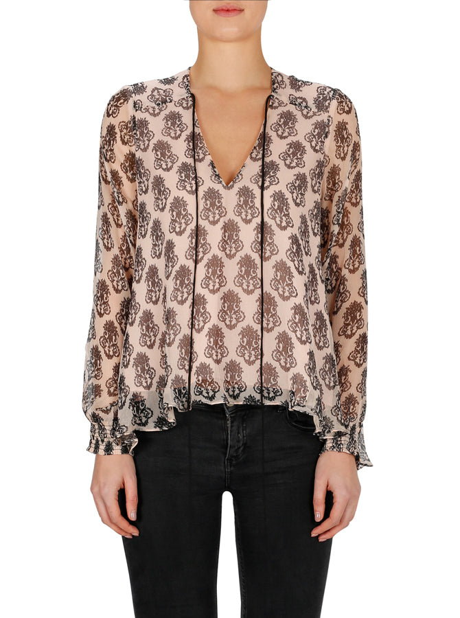 Flower Motif Long Sleeve Top