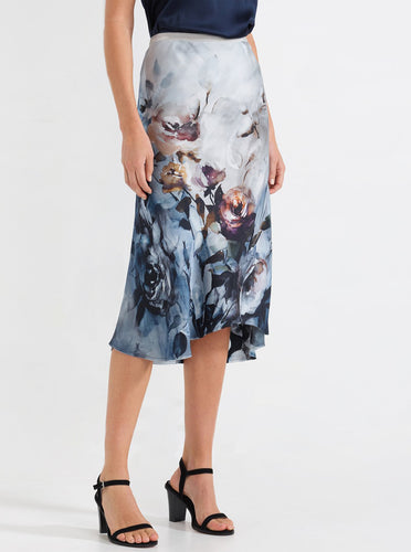 Go Luxe Bias Skirt Border Print