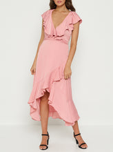 Load image into Gallery viewer, Look Twice Double Ruffle V Neck Midi Dress