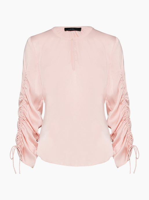 By The Way Silk Drawstring Sleeve Top