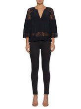 Load image into Gallery viewer, Unforgettable Silk Blouse W Embroidered Inserts