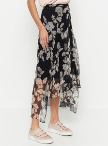 Butterflies Silk Midi Skirt