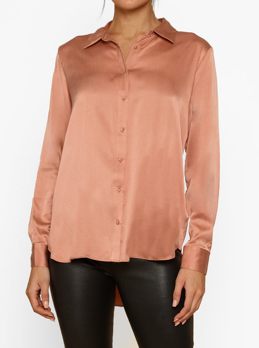 Luxe Leg Silk Button Up L/S Shirt