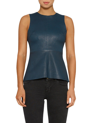 Pure Iconic Stretch Leather Peplum Top