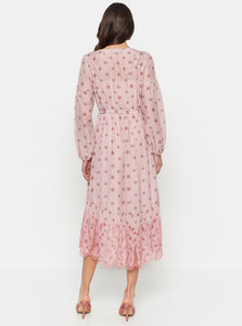 Summer Breeze Silk Cotton Gathered Hi Lo Midi Dress