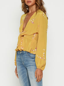 Heart Of Gold Silk Tie Front Blouse