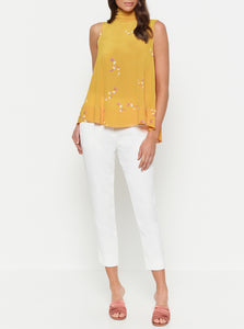 Heart Of Gold Silk High Neck Tie Top