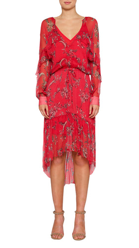 Passion Flower Silk Frill Hi-Lo Long Midi Dress