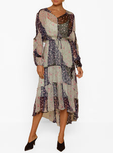 Always Perfect Silk Ruffle L/S Midi Dress W Slip