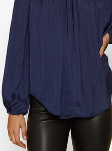 Look Twice High Neck L/S Pleat Blouse
