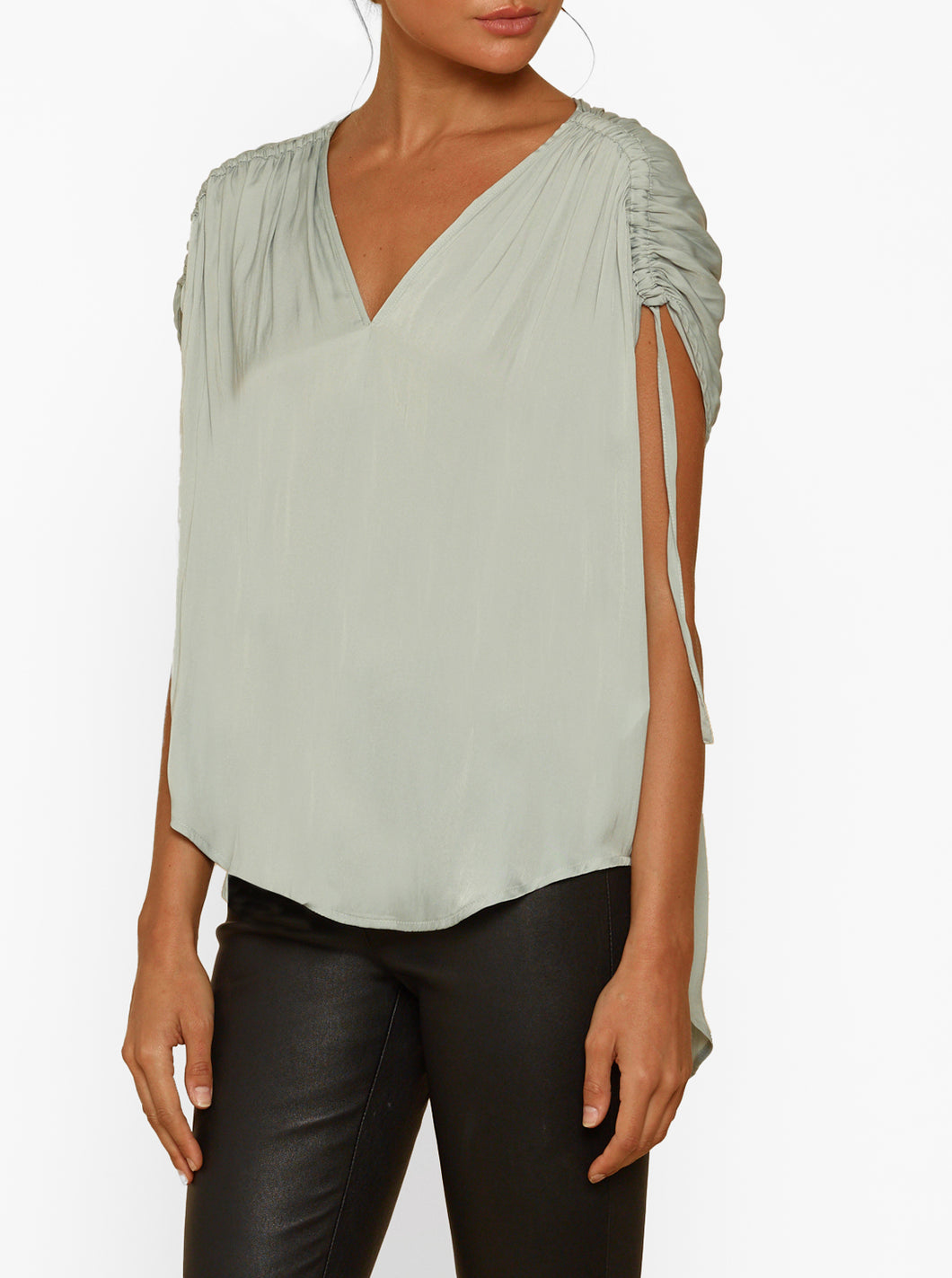 Look Twice Gathered Sleeve Top