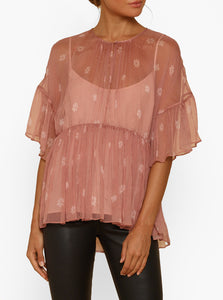 All For You Silk Ruffle Short Sleeve Top W Cami