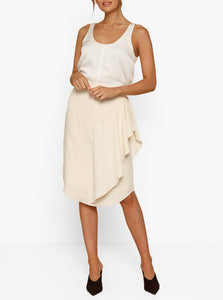Borderline Bias Cut Asymmetric Midi Skirt