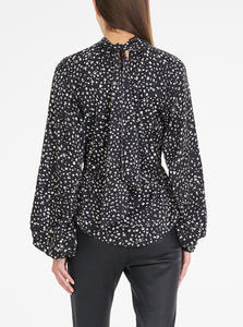Luxe Silk Printed High Neck Top