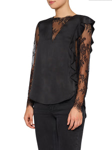Needed Silk Frill Lace Long Sleeve Top