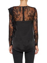 Load image into Gallery viewer, Needed Silk Frill Lace Long Sleeve Top