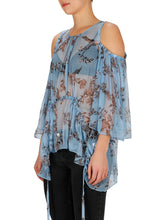 Load image into Gallery viewer, Passion Flower Silk Cold Shoulder Top