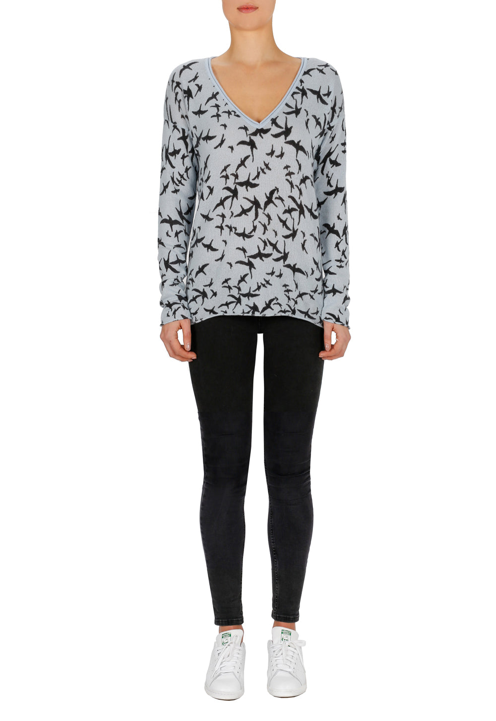 Superluxe Printed Cashmere Self Roll V Neck Sweater