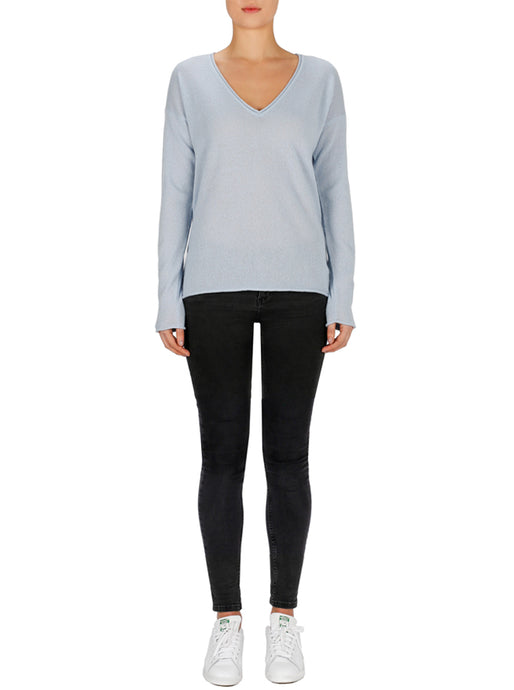 Superluxe Cashmere Self Roll V Neck Sweater
