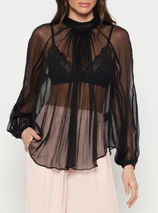 The Real You Silk Balloon Sleeve Blouse