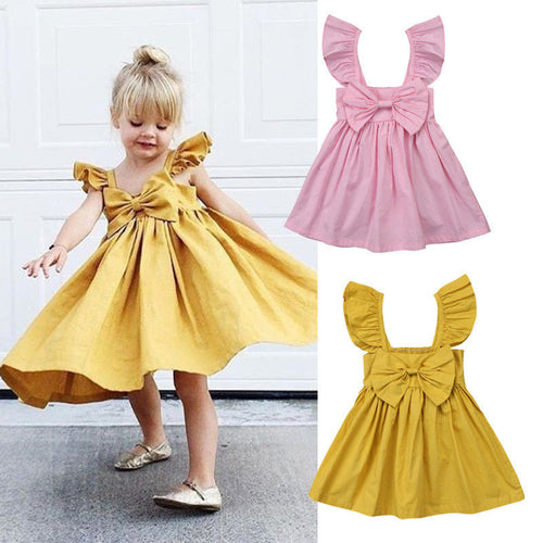 Sleeveless Ruffle Bowknot Dress