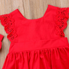 Load image into Gallery viewer, Ruffle Red Lace Romper Dress