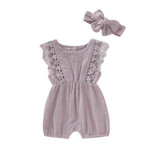 Flare Sleeve Solid Lace Design Romper