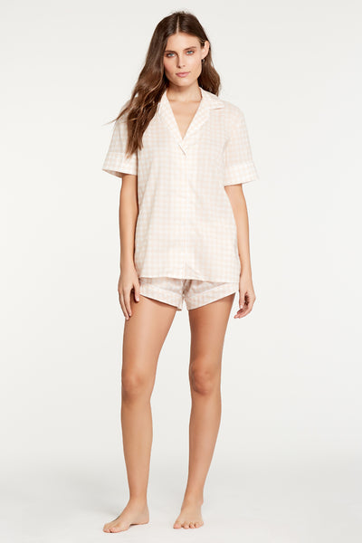 Antoinette Top - Blush Gingham