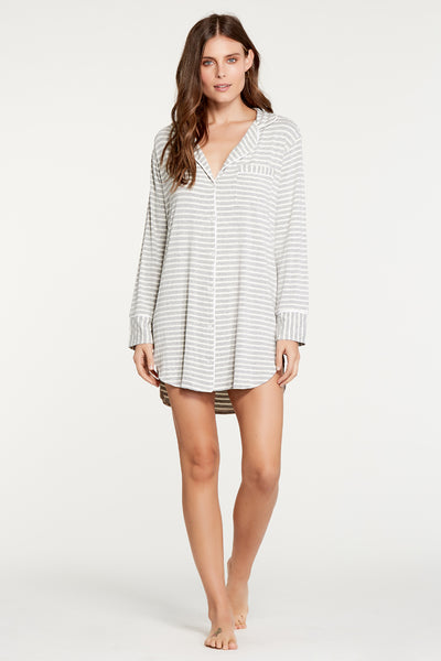 Augustine Shirt Dress- Heather Grey Stripe