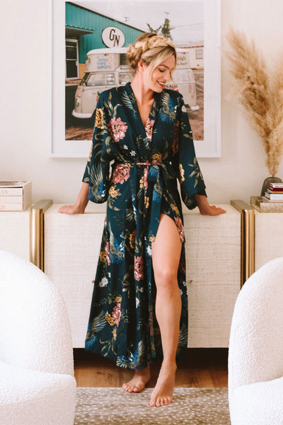 Audrey Robe - Blue Swan Floral