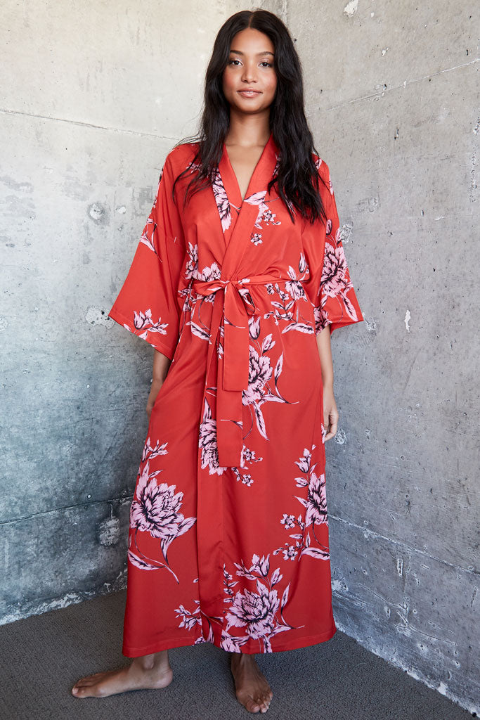 Audrey Robe - Red Floral