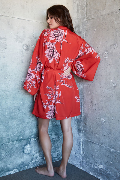 Audrey Short Robe - Red Floral